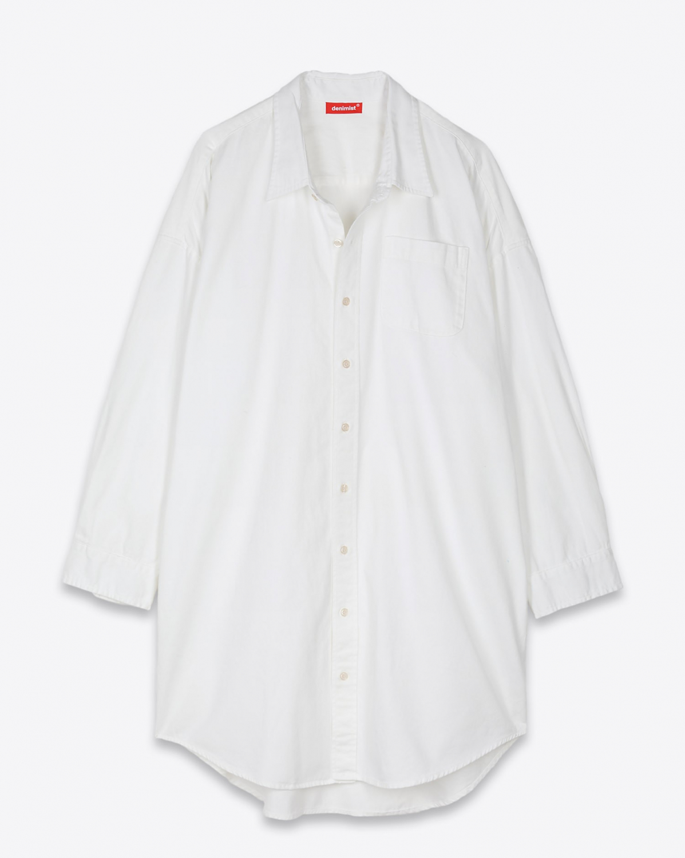 Robes Denimist Button Front Shirt Dress White
