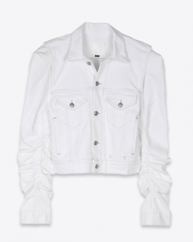 R13 Denim Collection Kelsey Shirring Denim Jacket - Brooke White